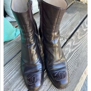 CHANEL Lambskin chocolate brown boots size 38